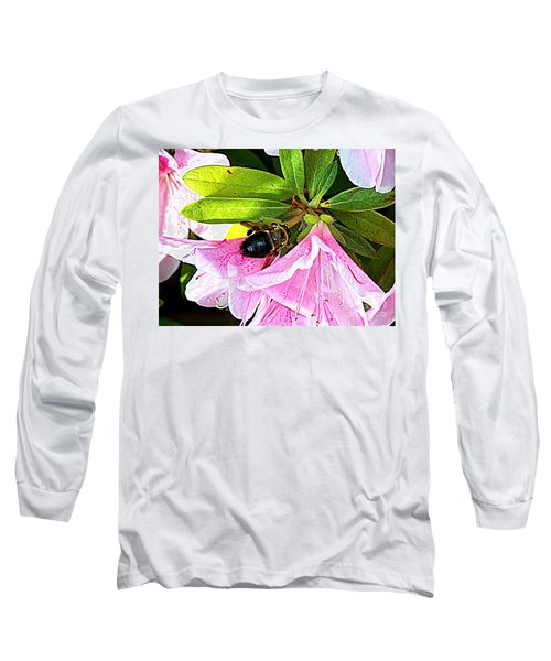 Bee On  Pink Azalea Long Sleeve T-Shirt