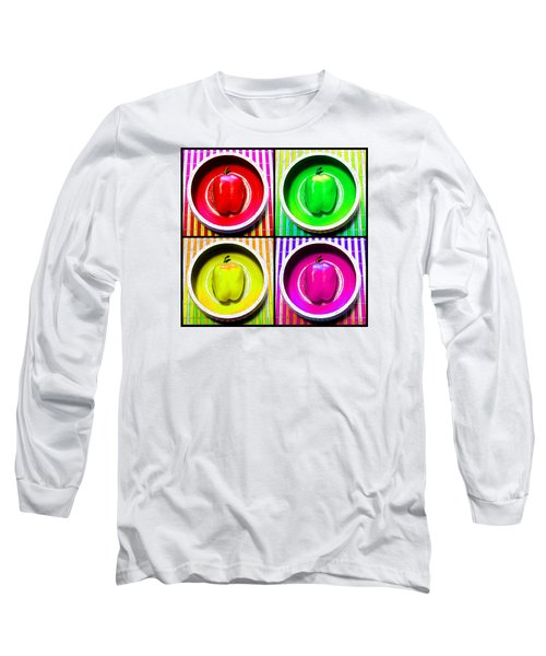 Long Sleeve T-Shirt featuring the photograph Bell Pepper Rainbow by Shawna Rowe