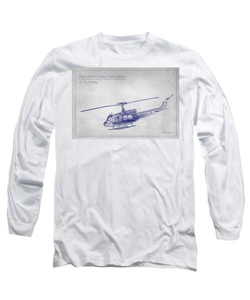 Bell Uh-1h Huey Helicopter  Long Sleeve T-Shirt by Barry Jones