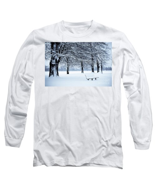 Bench In Snow Long Sleeve T-Shirt by Lana Enderle