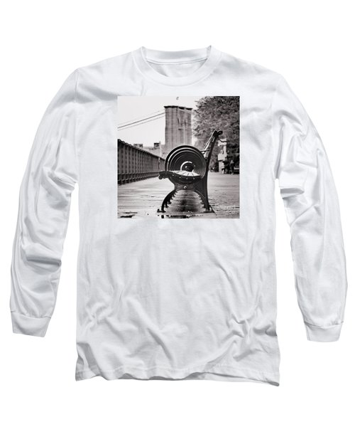 Bench's Circles And Brooklyn Bridge - Brooklyn Heights Promenade - New York City Long Sleeve T-Shirt