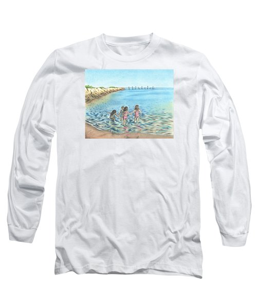 Long Sleeve T-Shirt featuring the drawing Best Friends by Troy Levesque