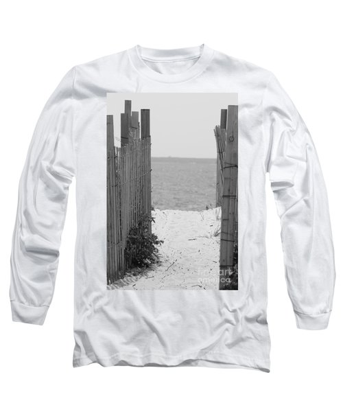 Beyond The Dunes Bw Long Sleeve T-Shirt by Barbara Bardzik