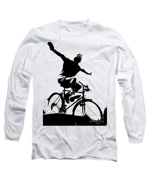 Bicycle - Black And White Pixels Long Sleeve T-Shirt