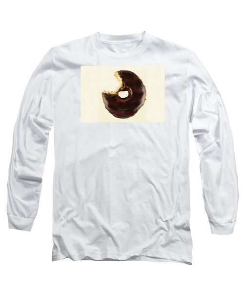 Long Sleeve T-Shirt featuring the photograph Chocolate Donut With Missing Bite by Vizual Studio
