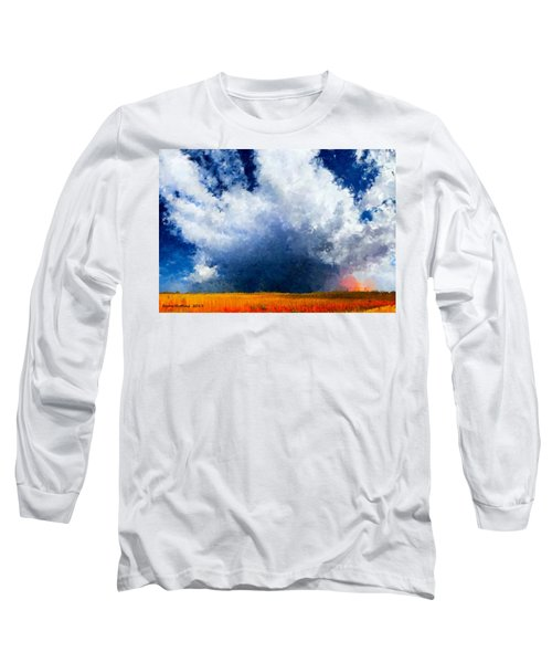 Long Sleeve T-Shirt featuring the painting Big Cloud In A Field by Bruce Nutting