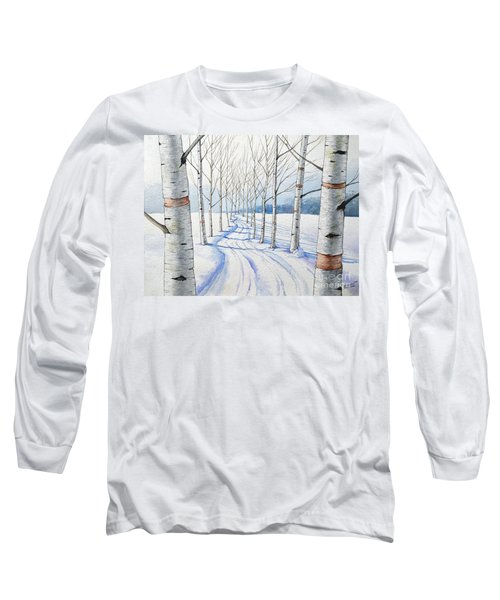 Birch Trees Along The Curvy Road Long Sleeve T-Shirt