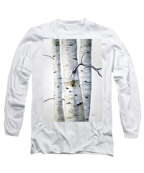 Birch Trees In Watercolor Long Sleeve T-Shirt