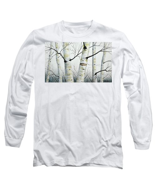 Birch Trees In The Forest In Watercolor Long Sleeve T-Shirt
