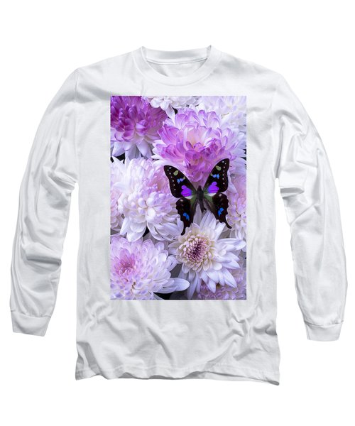 Black And Purple Butterfly On Mums Long Sleeve T-Shirt