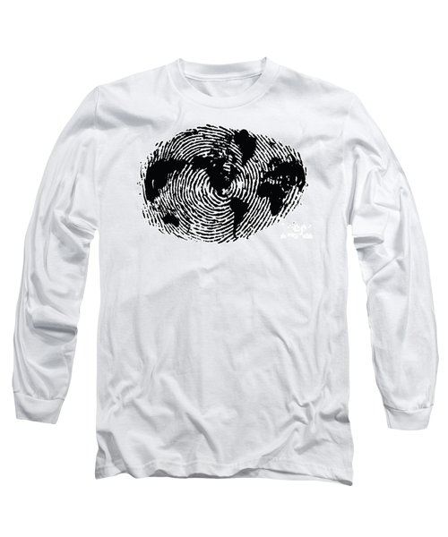 black and white ink print poster One of a Kind Global Fingerprint Long Sleeve T-Shirt