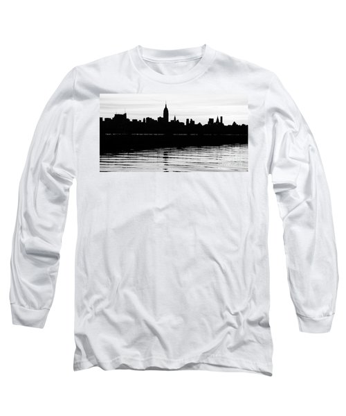 Long Sleeve T-Shirt featuring the photograph Black And White Nyc Morning Reflections by Lilliana Mendez