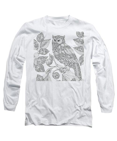 Black And White Owl Long Sleeve T-Shirt