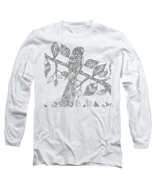 Black And White Parrot Long Sleeve T-Shirt