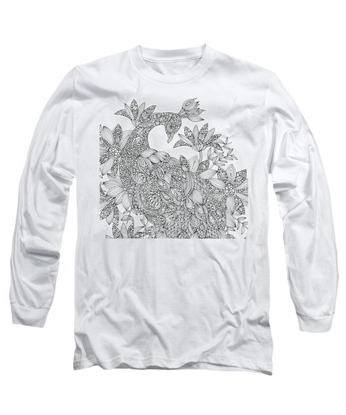 Black And White Peacock Long Sleeve T-Shirt