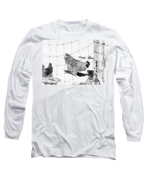 Long Sleeve T-Shirt featuring the photograph Black And White Rooster by Denise Romano