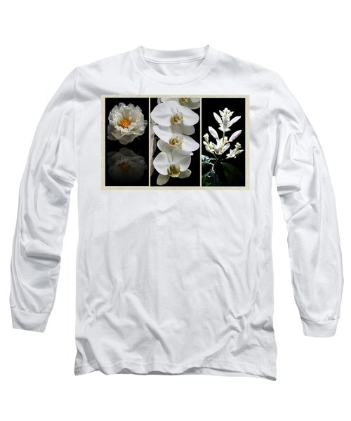 Black And White Triptych Long Sleeve T-Shirt by Judy Vincent