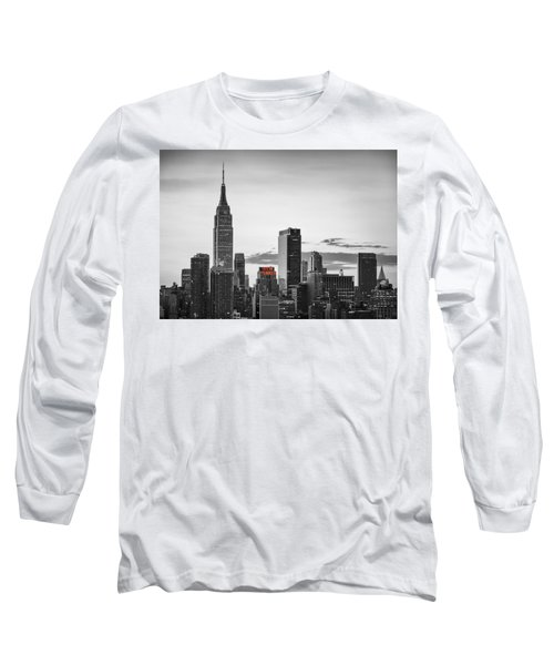 Black And White Version Of The New York City Skyline With Empire Long Sleeve T-Shirt