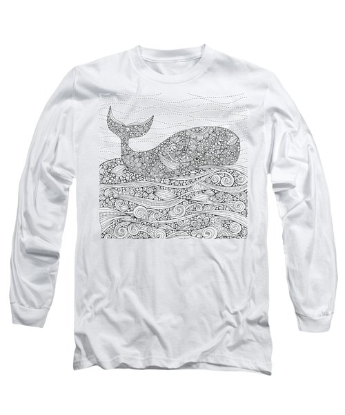Black And White Whale Long Sleeve T-Shirt