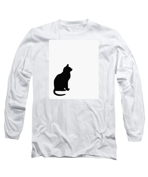 Black Cat Silhouette On A White Background Long Sleeve T-Shirt by Barbara Griffin