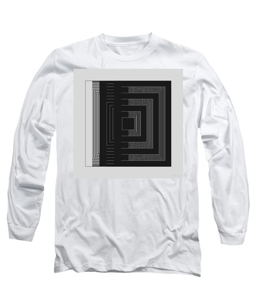 Long Sleeve T-Shirt featuring the digital art Black White Gray Square Geometric by Judi Suni Hall