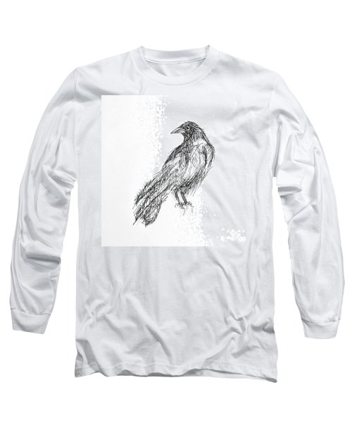 Long Sleeve T-Shirt featuring the drawing Blackbird  by Nicole Gaitan