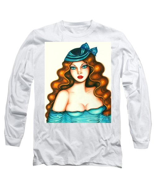 Blue Bow Hat Long Sleeve T-Shirt