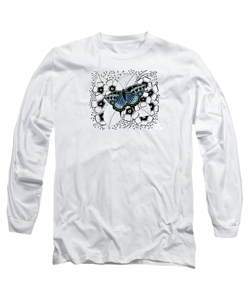 Blue Butterfly Long Sleeve T-Shirt by Billinda Brandli DeVillez