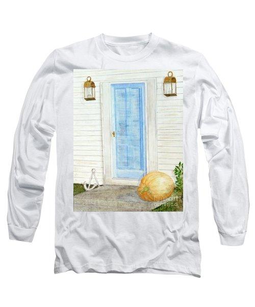 Blue Door With Pumpkin Long Sleeve T-Shirt
