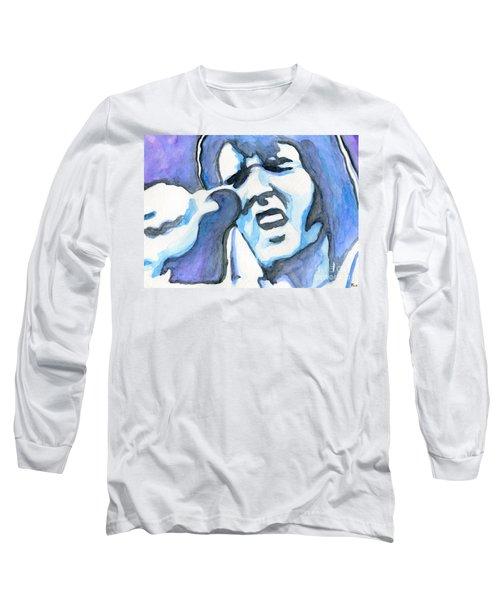 Blue Elvis Long Sleeve T-Shirt by Roz Abellera Art