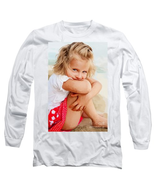 Long Sleeve T-Shirt featuring the painting Blue Eyed Girl by Tim Gilliland