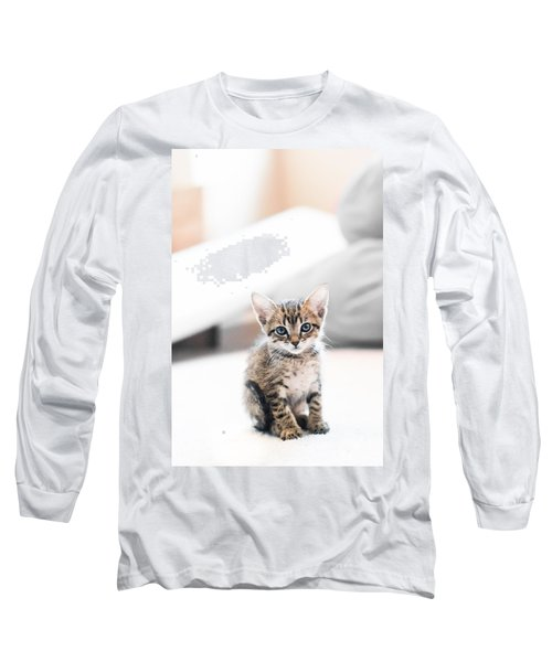 Blue Eyed Kitten Long Sleeve T-Shirt by Shelby  Young