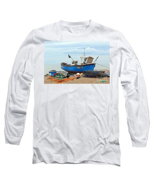 Blue Fishing Boat Long Sleeve T-Shirt