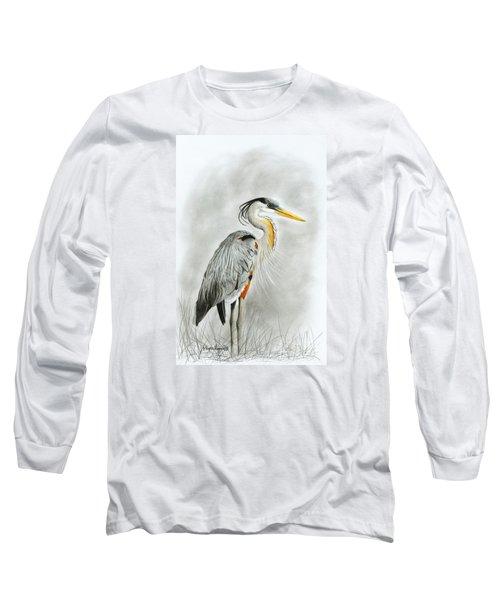 Blue Heron 3 Long Sleeve T-Shirt by Phyllis Howard