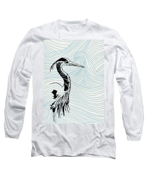 Blue Heron On Waves Long Sleeve T-Shirt