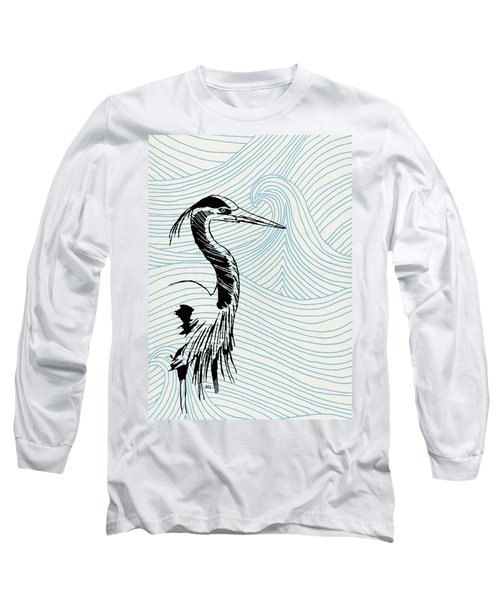 Blue Heron On Waves Long Sleeve T-Shirt