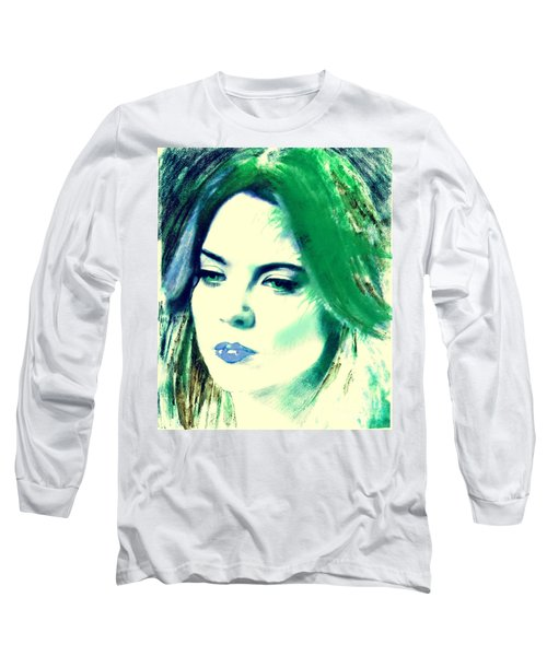 Blue Lips On Green Long Sleeve T-Shirt by Kim Prowse