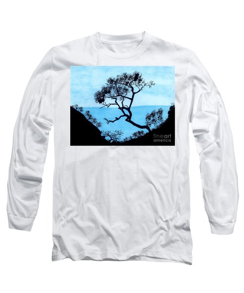 Long Sleeve T-Shirt featuring the drawing Blue Mountain by D Hackett