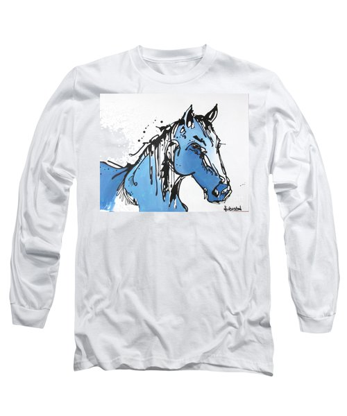 Long Sleeve T-Shirt featuring the painting Blue by Nicole Gaitan