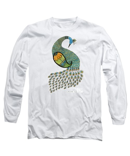 Blue Peacock Long Sleeve T-Shirt by Billinda Brandli DeVillez