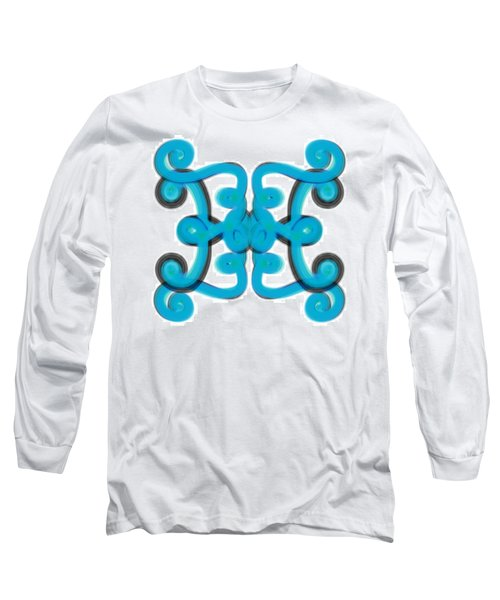 Long Sleeve T-Shirt featuring the digital art Blue Scroll Square by Christine Fournier