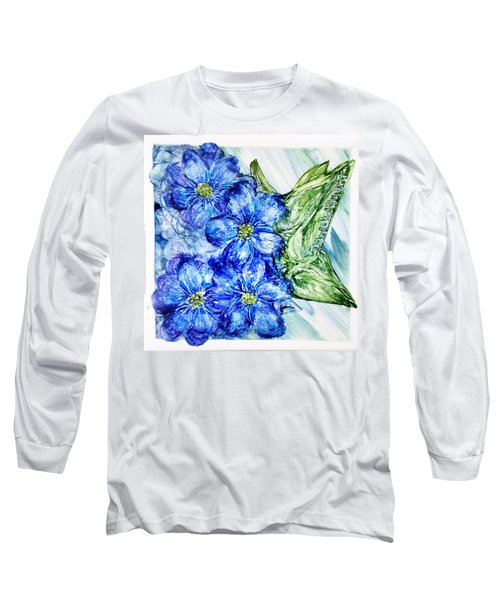 Blue Springy Flowers Alcohol Inks Long Sleeve T-Shirt