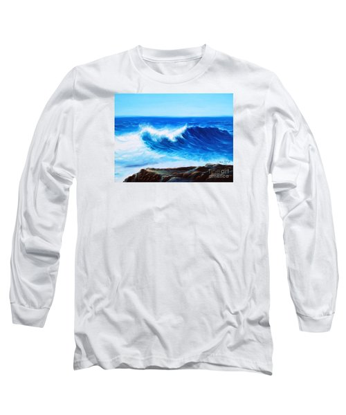 Long Sleeve T-Shirt featuring the painting Blue by Vesna Martinjak