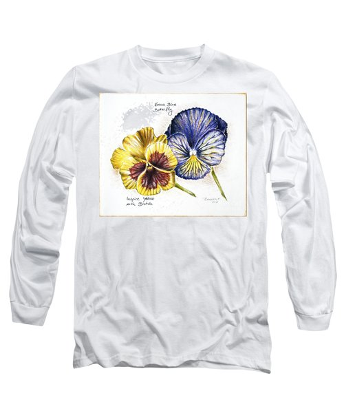 Blue Yellow Pansies Long Sleeve T-Shirt by Katharina Filus