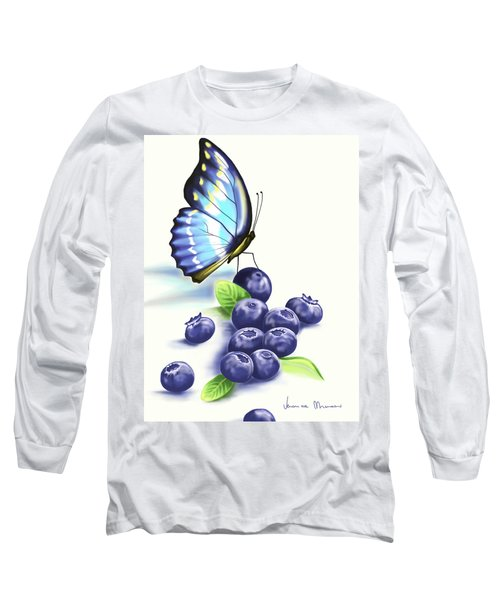 Blueberries And Butterfly Long Sleeve T-Shirt