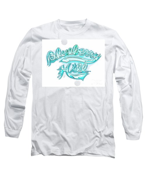Blueberry Hill Inverted In Neon Blue Long Sleeve T-Shirt by Kelly Awad