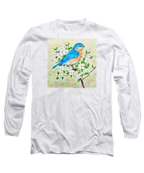 Bluebird And Dogwood Long Sleeve T-Shirt by Lena Auxier