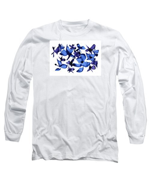 Long Sleeve T-Shirt featuring the mixed media Blues And Violets by Frank Bright