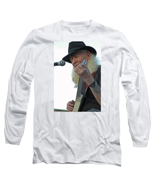 Long Sleeve T-Shirt featuring the photograph Bluesman Johnny Winter by Mike Martin