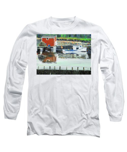Long Sleeve T-Shirt featuring the painting Boat At Louisburg Ns by Michael Daniels